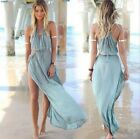 BOHO Womens Summer Causal Chiffon Sexy Blue Long Party Beach Dress Stylish Hot