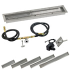 American Fireglass Gas Fire Pit Linear Drop In Tray Kit w/ Spark Ignition NG LP