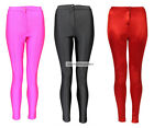 Ladies Shiny American High Waist Disco Pant Trouser Leggings Red Black Pink 8-14