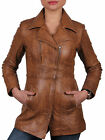 NEW LADIES LONG REAL LEATHER BIKER JACKET WOMENS NEW COAT SIZE UK 8 10 12 14 16