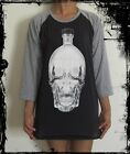 Unisex Skull Bottle Raglan 3/4 Length Sleeve Baseball T-Shirt (Vest Jumper)