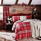 Catherine Lansfield Red Kelso Tartan/Check Cotton Rich Duvet Cover S/D/K