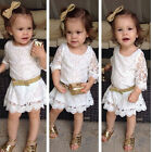 2015 Fashion Baby Kids Girls Princess White Flower Formal Lace Tutu Dress 2-11Y