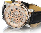 Luxury Men's Gold Dial Skeleton Black Leather Gear Mechanical Sport Wrist Watch