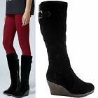 WOMENS LADIES KNEE CALF HIGH FLAT WEDGE BLACK PLATFORM HEEL BIKER BOOTS SIZE