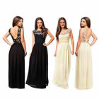 Womens Formal Lace Long Prom Party Bridesmaid Wedding Maxi Backless Dress