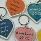 WEDDING FAVOUR HEART KEY RINGS PERSONALISED CUSTOM COLOUR WORDS PACK OF 10 MULTI