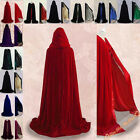New Stock Hooded Cloak Cape Witchcraft Halloween Velvet Christmas Wedding S-XXL