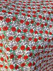 Polycotton Fabric Bunched White SKULLS RED ROSES White Back Ground PER METRE