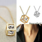 Gold Silver Chain Cube Crystal Necklace Charming Womens Hotsales Stainless new
