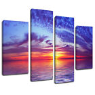 MSC030 Ocean Sunset Canvas Wall Art Multi Panel Split Picture Print