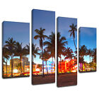 MSC332 Miami Beach View Canvas Wall Art Multi Panel Split Picture Print