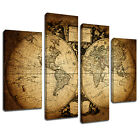 MSC359 Vintage World Map Canvas Wall Art Multi Panel Split Picture Print