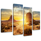 MSC370 Red Rocky Desert Sunset Canvas Wall Art Multi Panel Split Picture Print