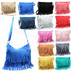 Italian Genuine Real Suede Leather Celebrity Tassel Messenger & Cross Body Bag