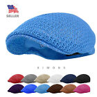 Cool Mesh Newsboy Gatsby Cap Mens Ivy Hat Golf Driving Summer Sun Flat Cabbie