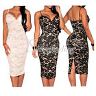 Black Sleeveless Strappy Floral Lace Nude Illusion Party Evening Midi Dress SF