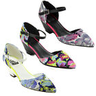 BUMPER DOLLY08 Women's Pointy Toe Floral Print Ankle Strap Wedge D'Orsay Pumps