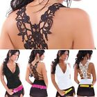 Women's Sexy Back Floral Lace Crochet Lace Tank Top Backless Vest T-Shirt Tops