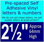 """QTY of: 6 x 2½""""  64mm HIGH STICK-ON  SELF ADHESIVE VINYL LETTERS & NUMBERS"""