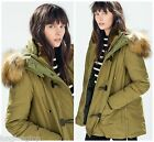Zara Padded Super Warm Parka Coat Jacket Anorak With Hood & Faux Fur New