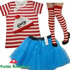 Ladies RED & WHITE Striped Fancy Dress Costume 5 PIECE TShirt Tutu Hen  outfit