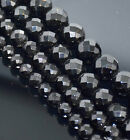 "Faceted Gemstone Round Beads 16"" Black Onyx 3mm 4mm 6mm 8mm 10mm 12mm 14mm 16mm"