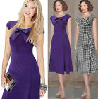 2 Colors Vintage Style Women Slim fit Bow Casual Party Evening Cocktail Dresses