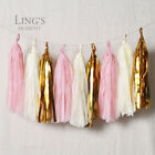 3 Mixed Colour Tissue Paper Mylar Fringe Tassel Garland Wedding Party Shower Dec