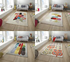 Designer Wool Blend Rug Inaluxe Bold Multi Coloured Large Modern Hand Tufted Mat