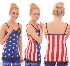 LACE STRAPPY DRESS VEST TOP STARS & STRIPES ALTERNATIVE INSANITY