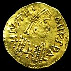 Spanish visigoths striking a gold tremissis in the name of Justinian