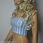SIZE 12 BLUE WHITE STRIPE BOOB TUBE STRAPLESS BANDEAU TOP NAUTICAL HOLIDAY W674
