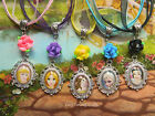 DISNEY PRINCESS ROSE CHARM PENDANT NECKLACE RAPUNZEL ANNA ELSA SNOW WHITE BELLE