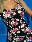 ROSES FLORAL RacerBack Tank TOP Shirt sleeveless COTTON S M L