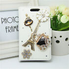 Bling Handmade Diamonds Slot Wallet Flip PU Leather Case Stand Cover