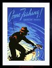 TRAVEL SPORT FISHING ANGLING RIVER RIPPLE CANADA PIPE HAT FRAMED PRINT F12X6925