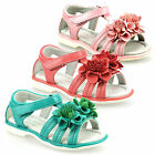 Girls Kids Infants New Leather Summer Touch Fasten Flower Sandals Shoes Size