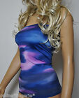 BLUE PURPLE LYCRA BOOB TUBE LONG TOP STRAPLESS BANDEAU CLUB HOLIDAY PARTY W698