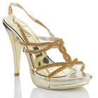 NEW WOMENS LADIES HIGH HEEL GOLD  EVENING PARTY SANDALS SHOES SIZE 4 5 6 7 8