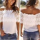 Sexy Lady Hot Casual Lace Chiffon Off Shoulder Top Shirt Blouse T-Shirt UK 8-20