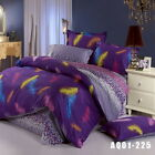 Purple Feather Single/Double/Queen/King Size Bed Quilt/Doona/Duvet Cover Set