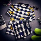 Men Casual Black White Check Plaid Vintage Number Seven Short Sleeves T-shirt