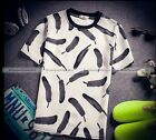 Men Fashion Summer Black White Feather Pattern Short Sleeves T-shirt