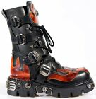 NEWROCK New Rock 107-S1 Red Skull Devil Black Leather Boot Biker Goth Rock Boots