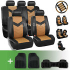 Synthetic Leather Car Seat Covers w. Floor Mats and Accessories