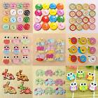 Colorful Multi-pattern Wood Wooden Button 2/4 Holes Sewing Scrapbook Craft DIY