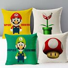Super Mario Bros Printed Decor Cushion Cover Linen Cotton Throw Pillow Case Slip