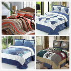 Striped Queen King Size Patchwork Bedspreads Set Quilted Coverlet Blanket New