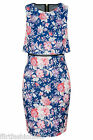 Womens Mesh Insert Back Slit Cut Bodycon Dress Floral Printed Sleeveless Mini